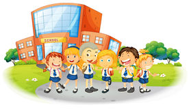 Children in school uniform at school Royalty Free Stock Photography