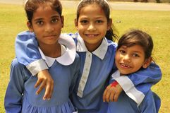 Children in school uniform. Three girls in school uniform, Pakistan Stock Photography
