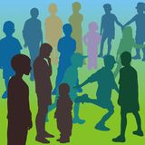 Children in the school yard. Silhouettes of boys and girls, color illustration Royalty Free Stock Image