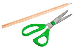 Children scissors and pencil Stock Photography