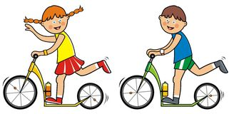 Children and scooter Stock Image