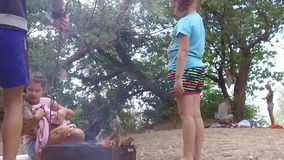 Children scouts burn bonfire picnic nature. kids teen scouting outdoors and a wet dog is warming around fire. Children scouts burn bonfire picnic nature. kids stock footage