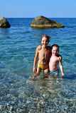 Children in the sea  Royalty Free Stock Images