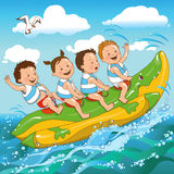 Children and the sea. Joyful kids ride on a banana boat sea stock illustration
