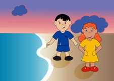 Children by the sea. Children on summer vacation on the beach near the sea, in the evening during sunset Stock Illustration