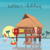 Children Sea Vacation. Girl and Boy in the Beach Bungalows. Royalty Free Stock Photo