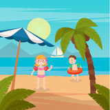 Children Sea Vacation. Girl and Boy Swimming on the Beach. Stock Photography