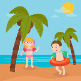 Children Sea Vacation. Girl and Boy Swimming on the Beach. Stock Image