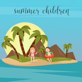 Children Sea Vacation. Girl and Boy Swimming on the Beach. Royalty Free Stock Photography
