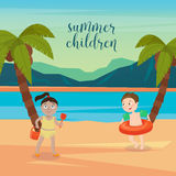 Children Sea Vacation. Girls and Boys Playing on the Beach Stock Images