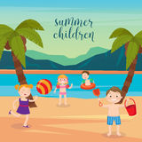Children Sea Vacation. Girls and Boys Playing on the Beach Royalty Free Stock Photography