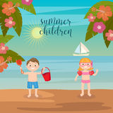 Children Sea Vacation. Girls and Boys Playing on the Beach. Royalty Free Stock Photo