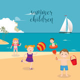 Children Sea Vacation. Girls and Boys Playing on the Beach Royalty Free Stock Images