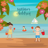 Children Sea Vacation. Girls and Boys Playing on the Beach. Stock Photo