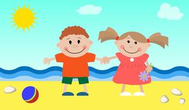 Children at the sea Royalty Free Stock Images