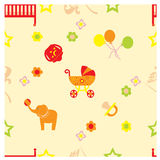 Children seamless. With accessories, flowers and stars vector illustration