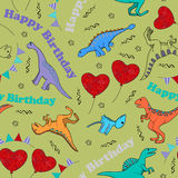 Children seamless background with stylized dinosaurs Stock Photos