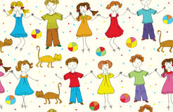 Children seamless funny pattern with cats Stock Photos