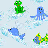 Children seamless pattern with aquatic animals Royalty Free Stock Images
