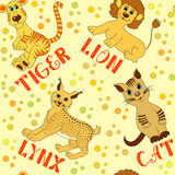 Children seamless pattern with cats Stock Photography