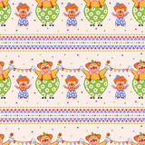 Children seamless pattern with cute big and small clowns. Royalty Free Stock Image