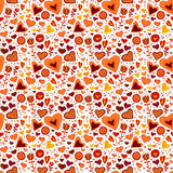 Children seamless pattern with hearts and flowers Stock Image
