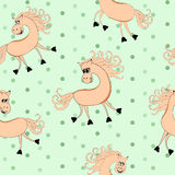 Children seamless pattern with smiling horses Stock Image