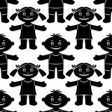 Children, Seamless, Silhouette. Seamless Pattern with Funny Children, Cartoon People, Happy Little Boys and Girls, Standing with Arms Wide Open and Smiling Royalty Free Stock Photo