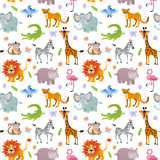 Children seamless vector wallpaper with cute and funny baby savanna animals Stock Images