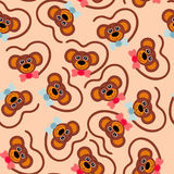 Children seamless wallpaper. Faces monkey. Vector illustration royalty free illustration