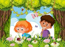 Children searching for insect in nature stock illustration