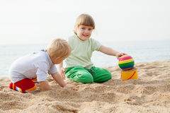 Children at the seaside playing Royalty Free Stock Image