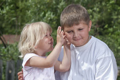 Children,a secret Royalty Free Stock Images