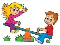 Children on seesaw theme image 1 Stock Photography