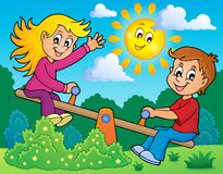 Children on seesaw theme image 2 Royalty Free Stock Images