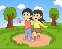Children self-ie in the park cartoon Royalty Free Stock Photography