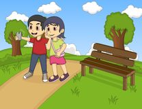 Children self-ie in the park cartoon Royalty Free Stock Photo