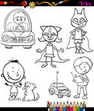 Children set cartoon coloring page Stock Photo
