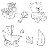 Children set collection. Collection of baby items. vector illustration contour Royalty Free Stock Photography