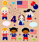 Children set Fourth of July Stock Photography