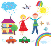 Children set with objects Royalty Free Stock Images