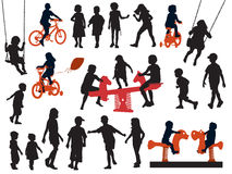 Children. A set of silhouettes, children playing in a playground vector illustration
