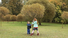 Children shaking a tree in the autumn park. Leaves are falling stock video