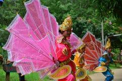 Children of Shan them show kinnari dance for traveler Royalty Free Stock Images