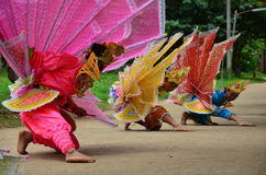 Children of Shan them show kinnari dance for traveler Royalty Free Stock Photo