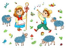 Children and sheeps set royalty free stock image