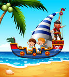 Children on the ship with pirate Stock Photos