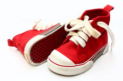 Children Shoes. Children Red shoes isolated in white background stock images