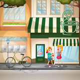 Children and shops Royalty Free Stock Photography
