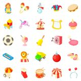 Children show icons set, cartoon style Royalty Free Stock Images